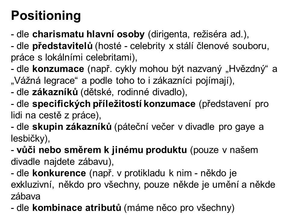 Positioning - dle charismatu hlavní osoby (dirigenta, režiséra ad.),