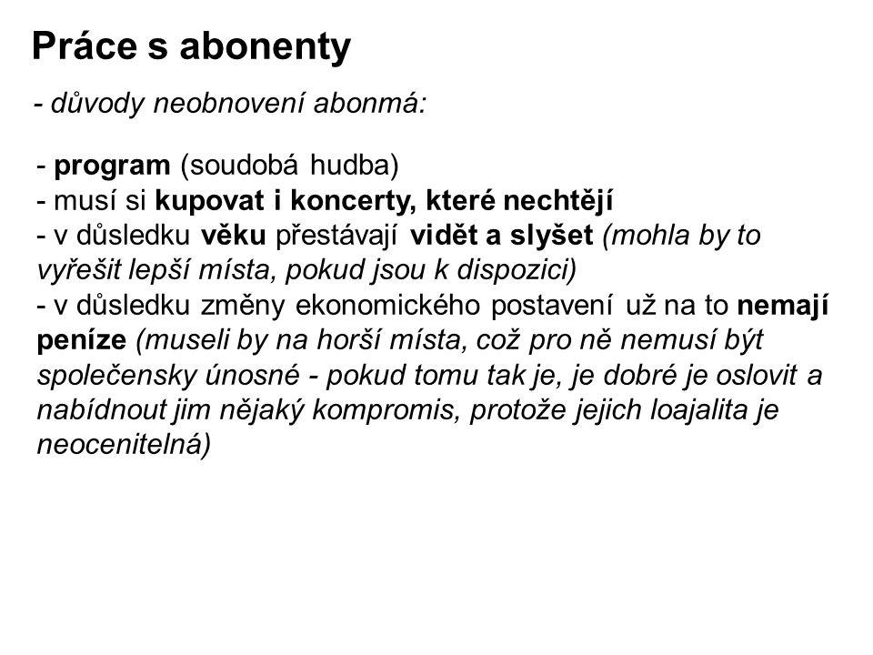 Práce s abonenty - důvody neobnovení abonmá: - program (soudobá hudba)