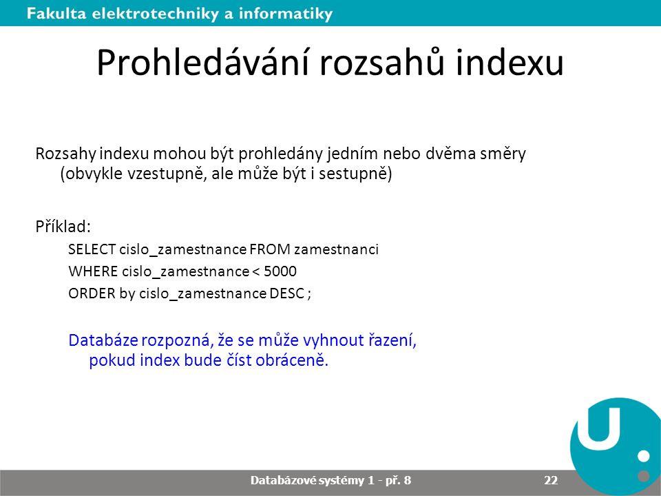 Prohledávání rozsahů indexu