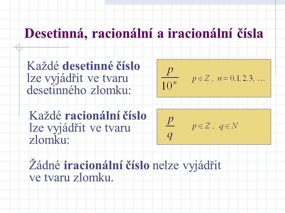 Desetinná, racionální a iracionální čísla