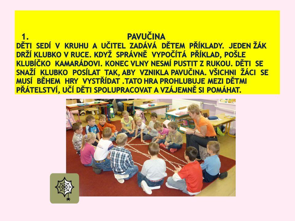 1. Pavučina děti sedí v kruhu a Učitel zadává dětem příklady
