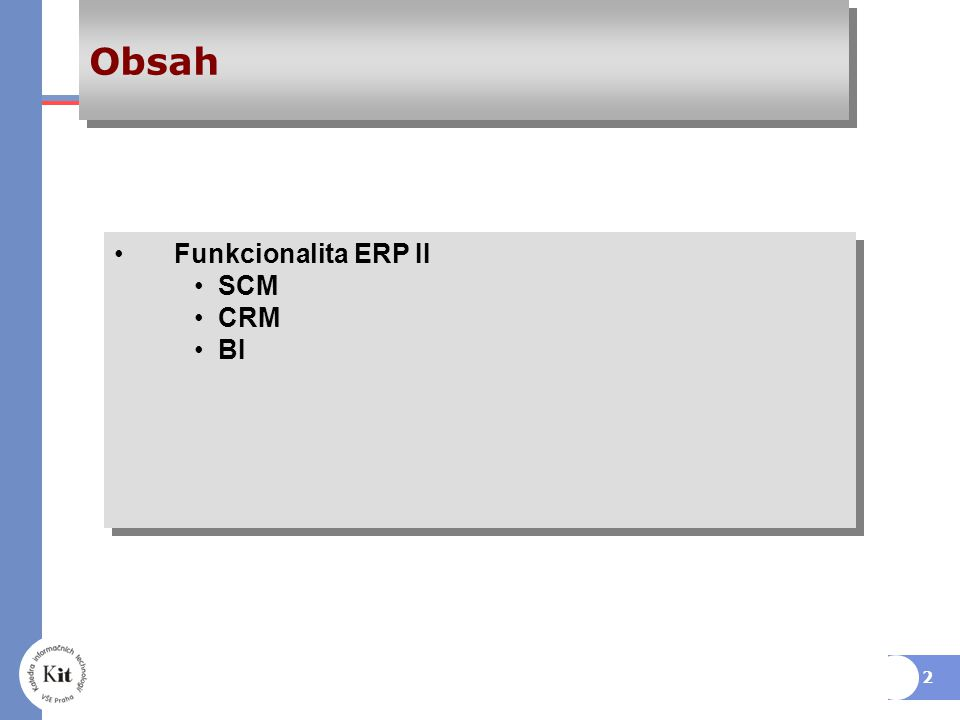 Obsah Funkcionalita ERP II SCM CRM BI