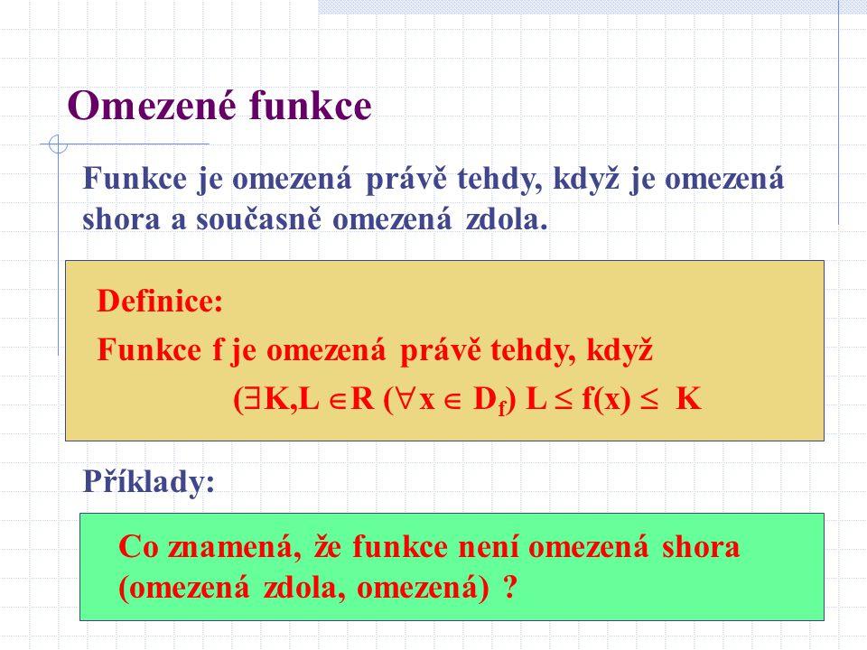 Omezené funkce Funkce je omezená právě tehdy, když je omezená shora a současně omezená zdola. Definice: