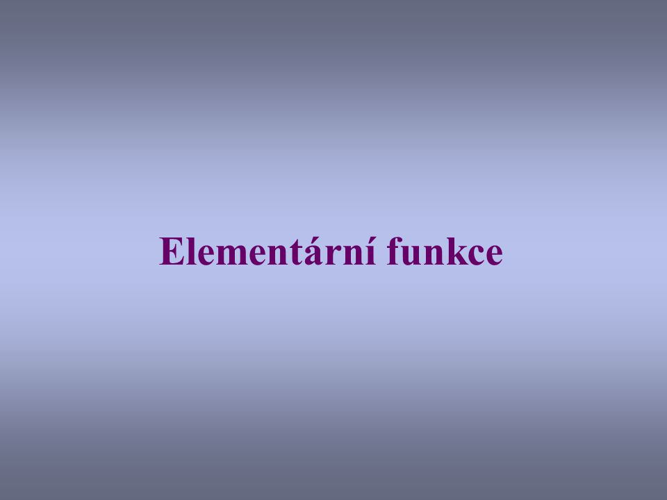 Elementární funkce