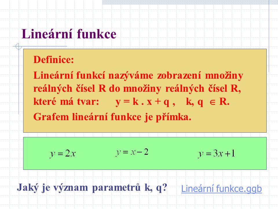 Lineární funkce Definice: