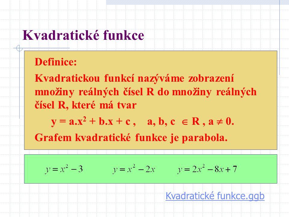 Kvadratické funkce Definice: