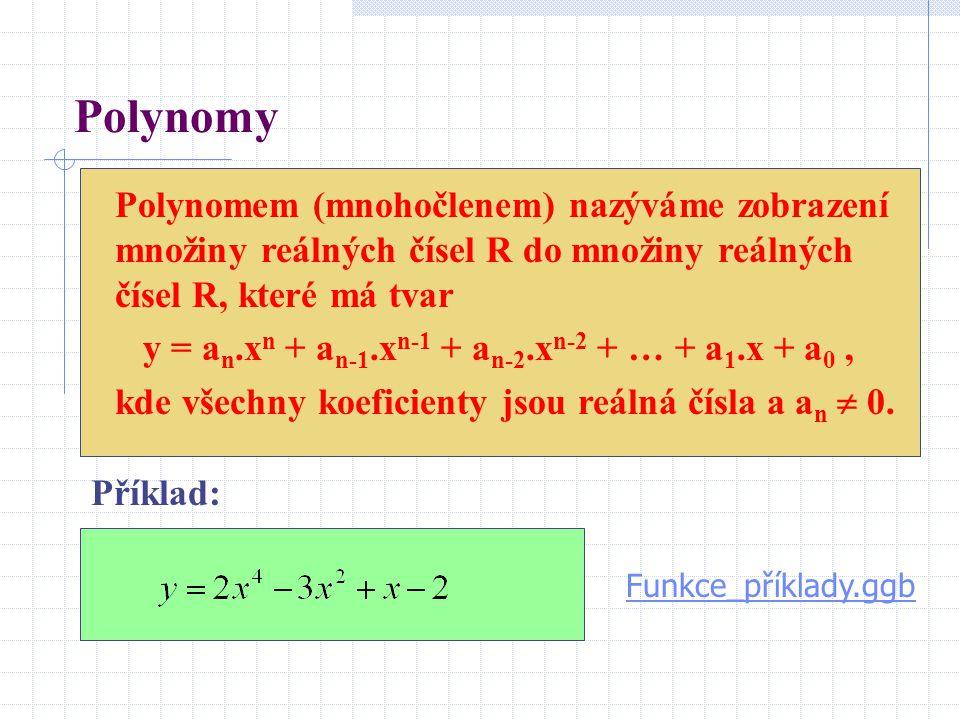 Polynomy Polynomem (mnohočlenem) nazýváme zobrazení množiny reálných čísel R do množiny reálných čísel R, které má tvar.