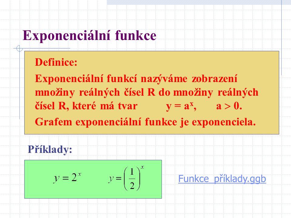 Exponenciální funkce Definice: