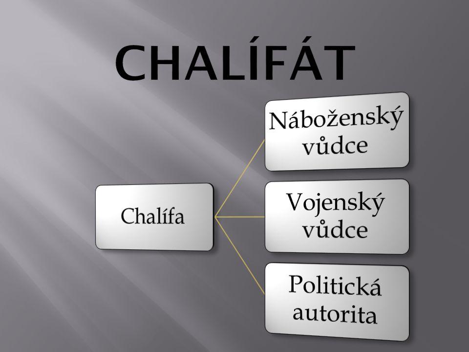 CHALÍFÁT Chalífa Náboženský vůdce Vojenský vůdce Politická autorita