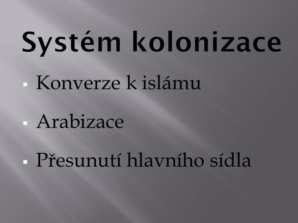 Systém kolonizace Konverze k islámu Arabizace Přesunutí hlavního sídla