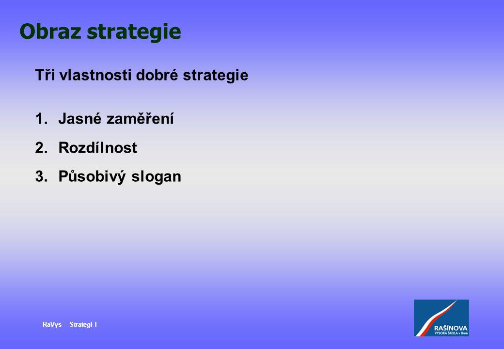 Obraz strategie Tři vlastnosti dobré strategie Jasné zaměření