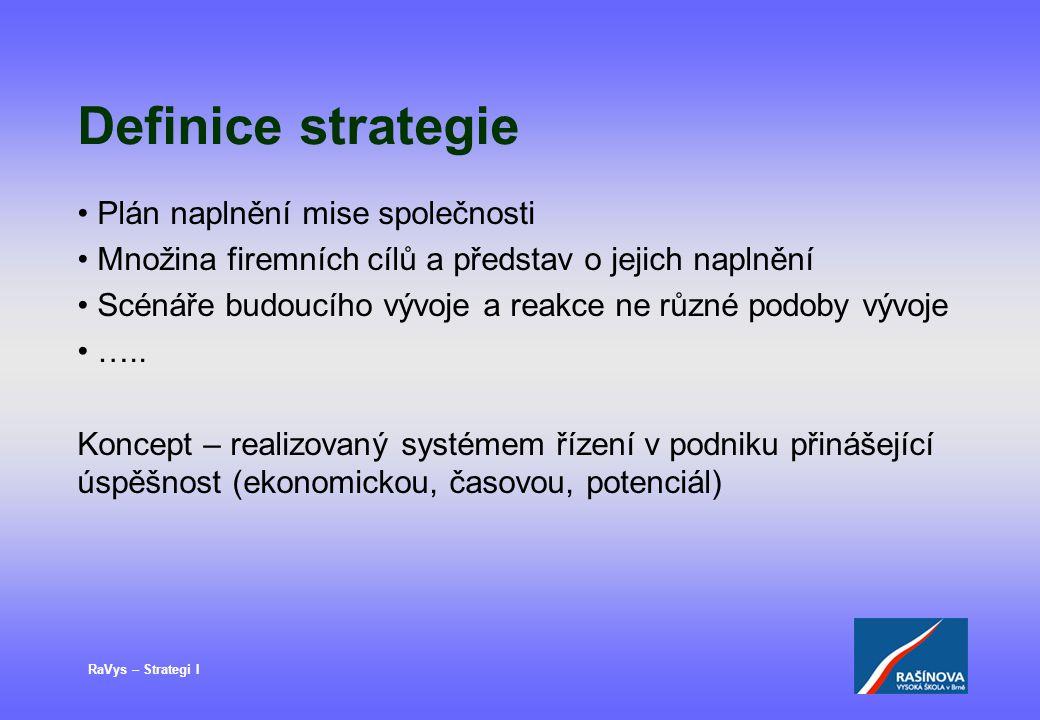Definice strategie Plán naplnění mise společnosti