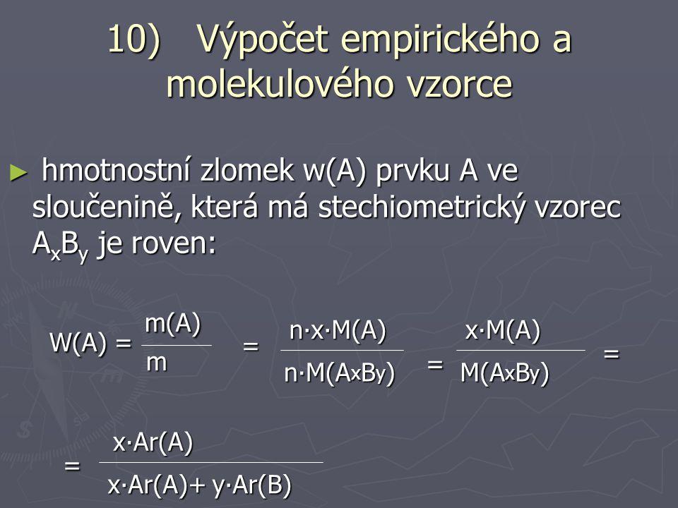 10) Výpočet empirického a molekulového vzorce