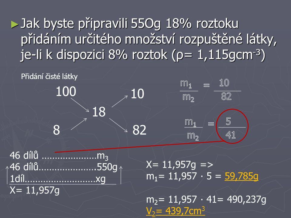 Jak byste připravili 55Og 18% roztoku přidáním určitého množství rozpuštěné látky, je-li k dispozici 8% roztok (ρ= 1,115gcm-3)