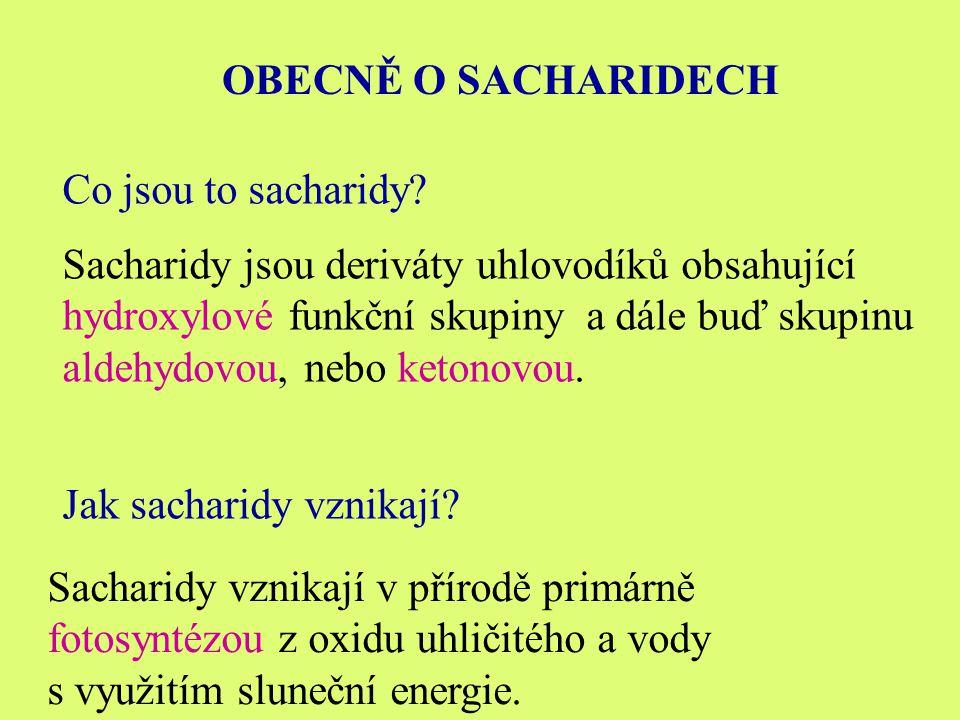 OBECNĚ O SACHARIDECH Co jsou to sacharidy