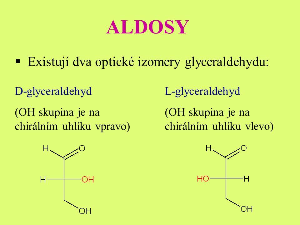 ALDOSY Existují dva optické izomery glyceraldehydu: D-glyceraldehyd