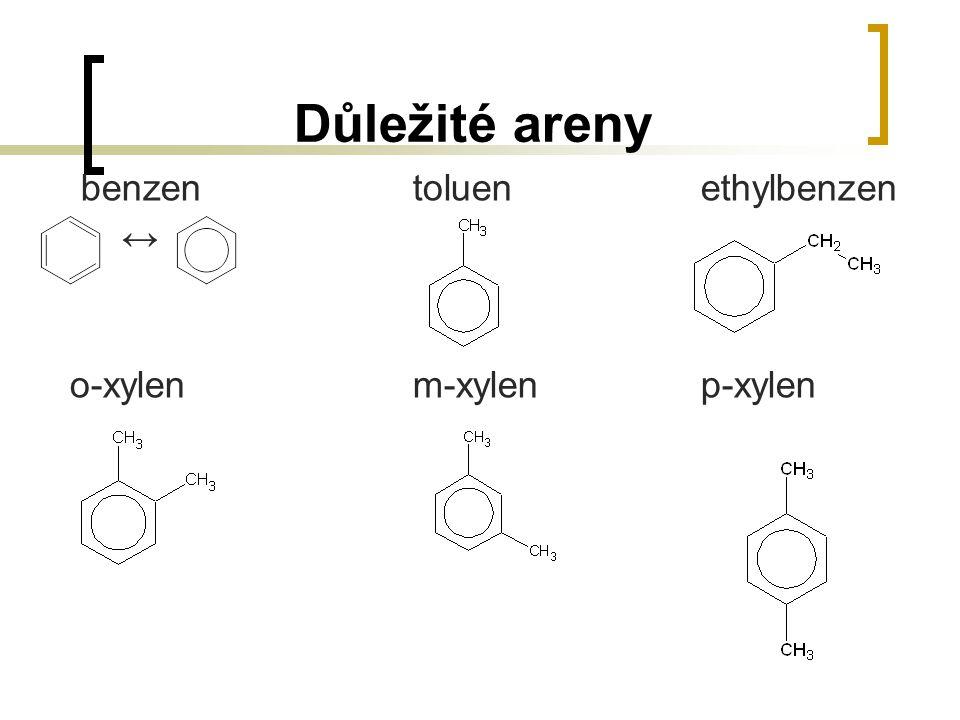 Důležité areny benzen toluen ethylbenzen ↔ o-xylen m-xylen p-xylen