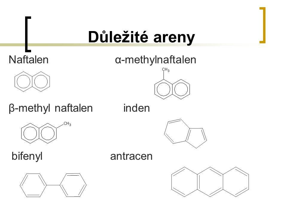 Důležité areny Naftalen α-methylnaftalen β-methyl naftalen inden