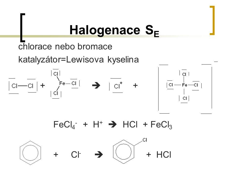 Halogenace SE chlorace nebo bromace katalyzátor=Lewisova kyselina