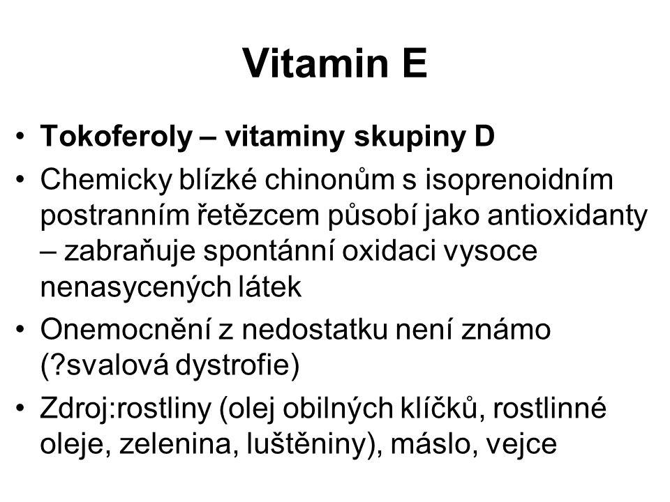 Vitamin E Tokoferoly – vitaminy skupiny D