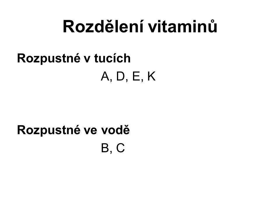 Rozdělení vitaminů Rozpustné v tucích A, D, E, K Rozpustné ve vodě