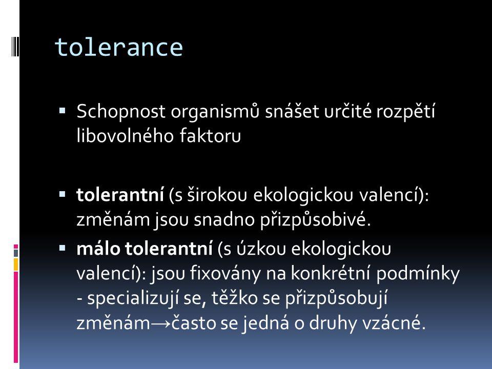 tolerance Schopnost organismů snášet určité rozpětí libovolného faktoru.