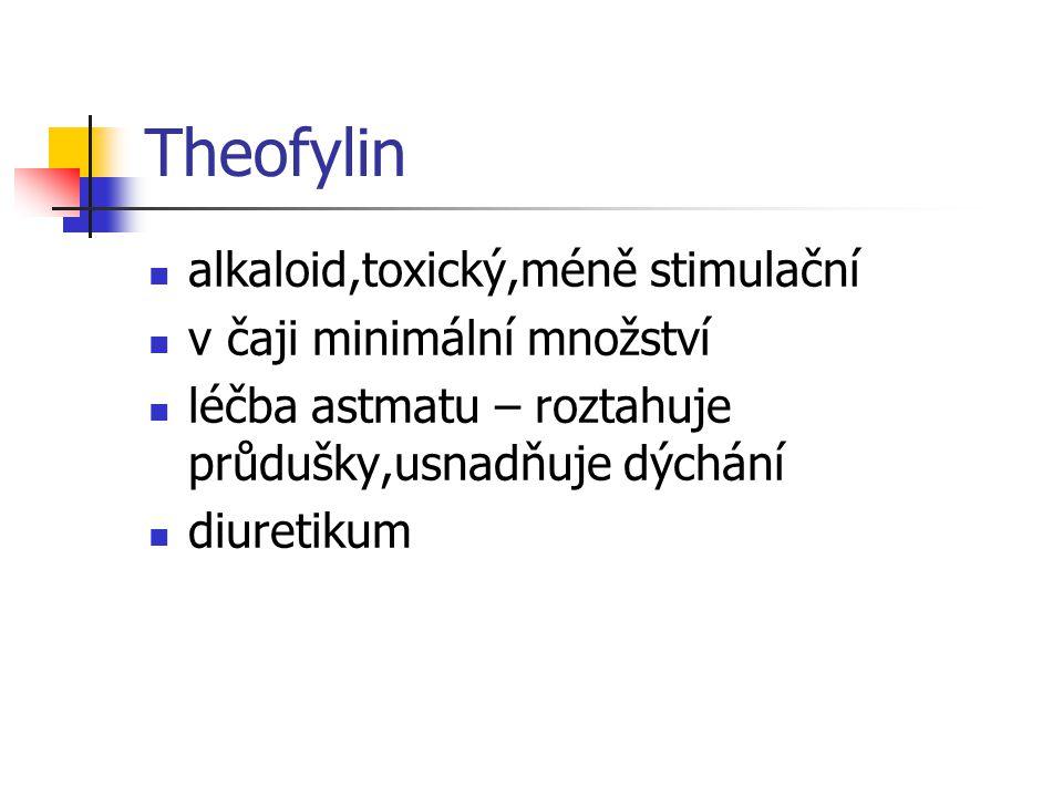 Theofylin alkaloid,toxický,méně stimulační v čaji minimální množství
