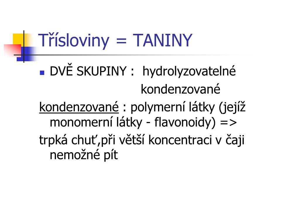 Třísloviny = TANINY DVĚ SKUPINY : hydrolyzovatelné kondenzované