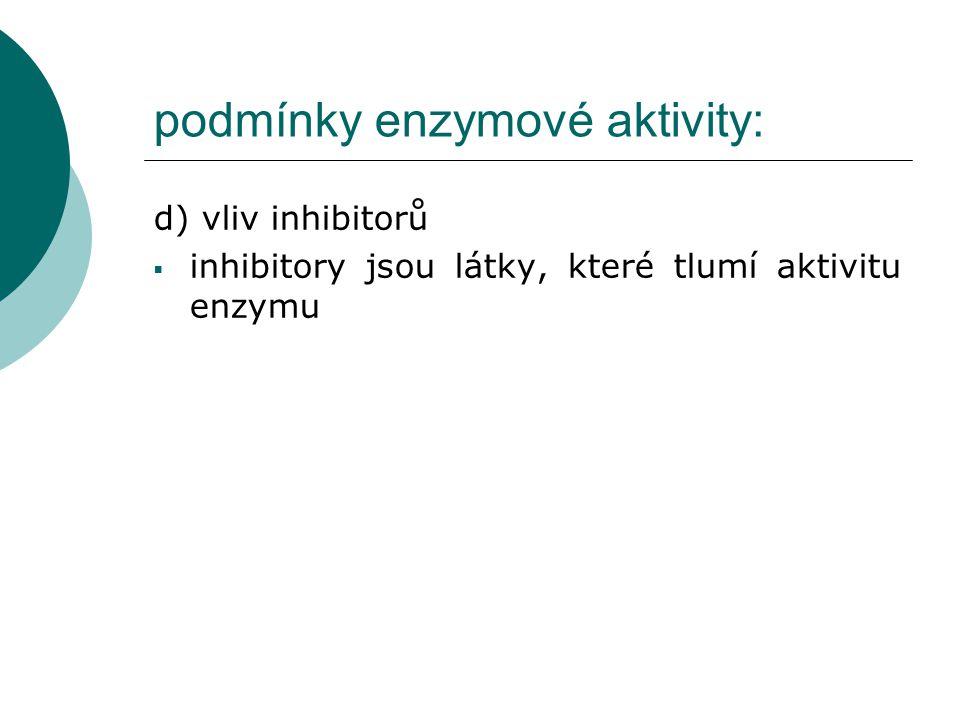 podmínky enzymové aktivity: