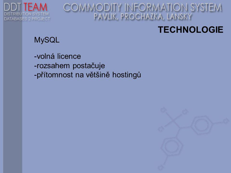 TECHNOLOGIE MySQL -volná licence -rozsahem postačuje