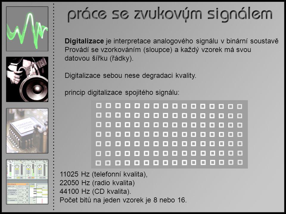 Digitalizace je interpretace analogového signálu v binární soustavě