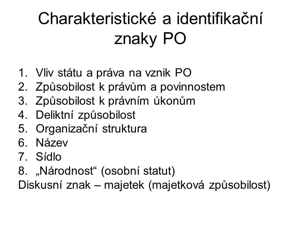 Charakteristické a identifikační znaky PO