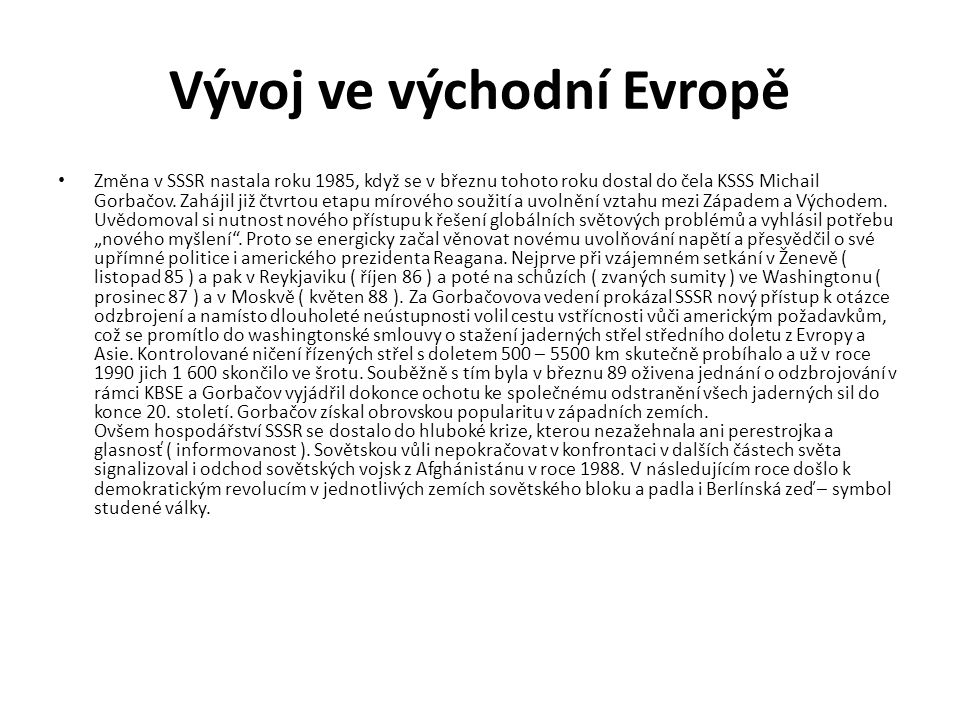 Vývoj ve východní Evropě