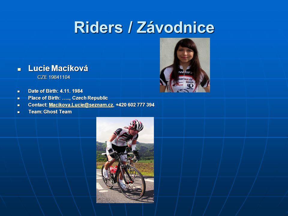 Riders / Závodnice Lucie Macíková CZE 19841104