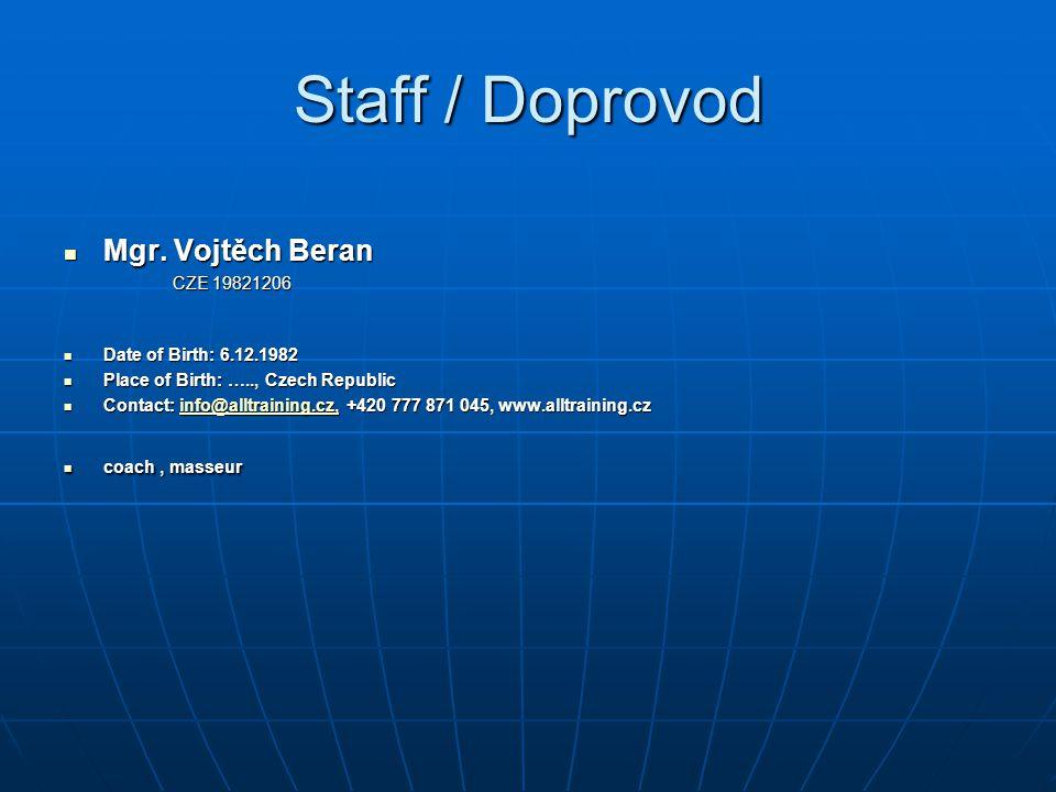 Staff / Doprovod Mgr. Vojtěch Beran CZE 19821206