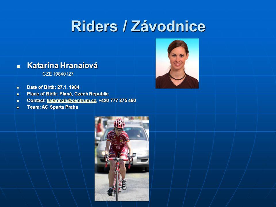 Riders / Závodnice Katarína Hranaiová CZE 19840127