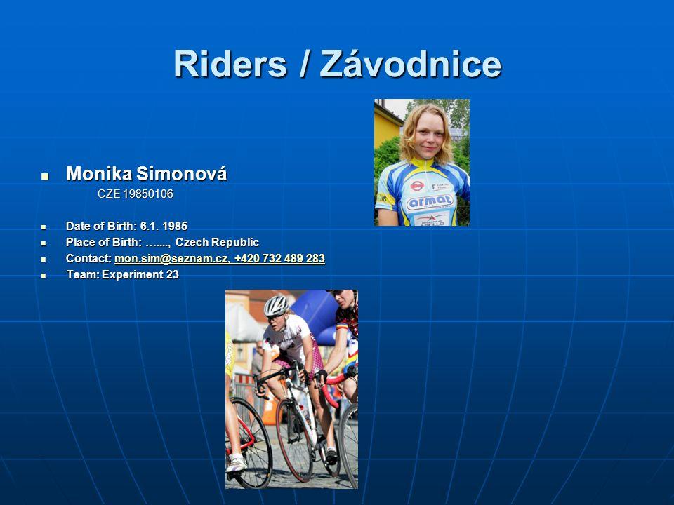Riders / Závodnice Monika Simonová CZE 19850106