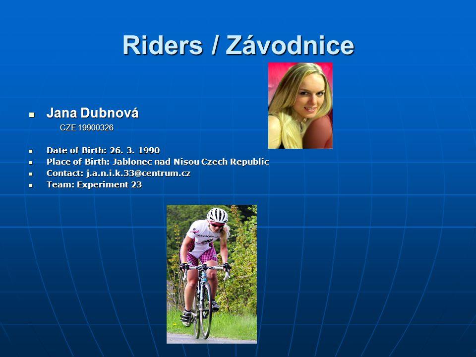 Riders / Závodnice Jana Dubnová CZE 19900326