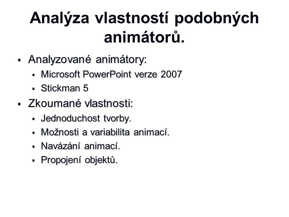 Analýza vlastností podobných animátorů.