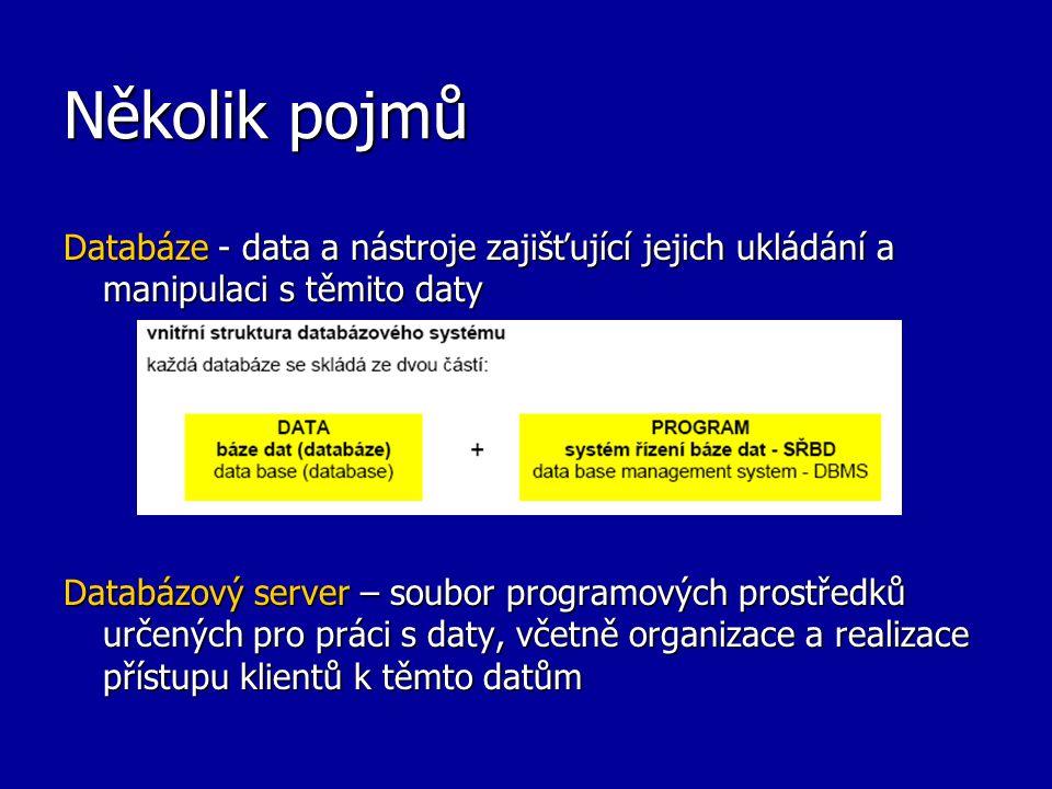 Několik pojmů Databáze - data a nástroje zajišťující jejich ukládání a manipulaci s těmito daty.