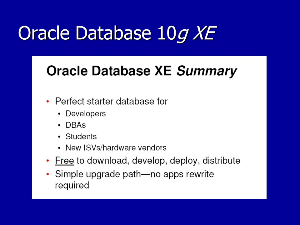 Oracle Database 10g XE