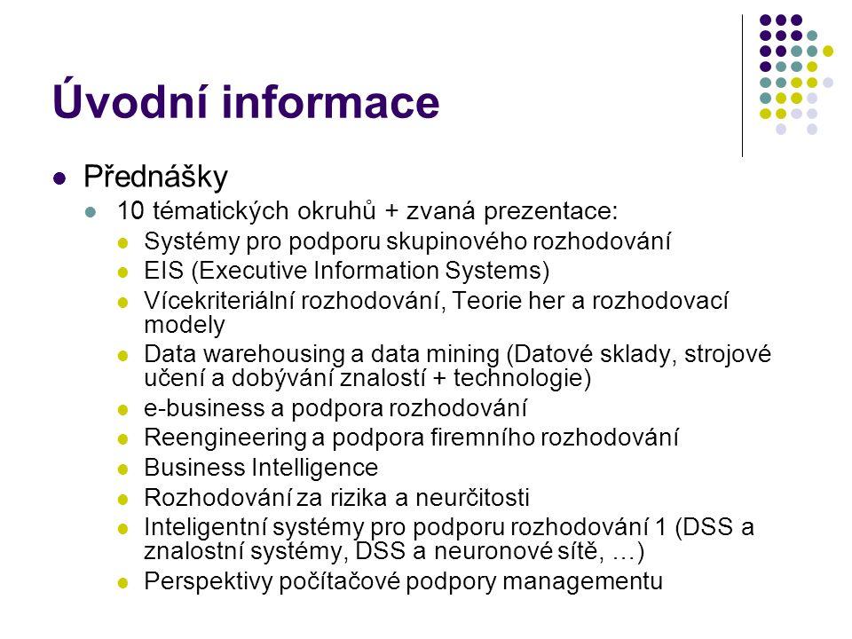 Úvodní informace Přednášky 10 tématických okruhů + zvaná prezentace: