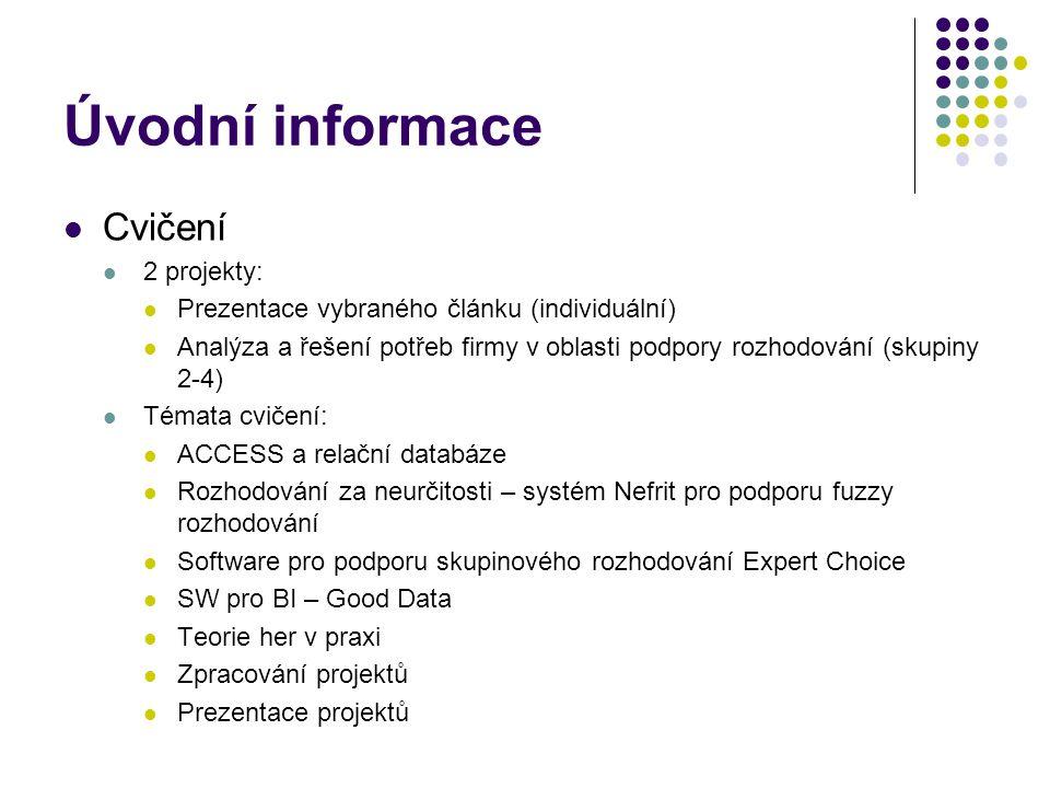 Úvodní informace Cvičení 2 projekty: