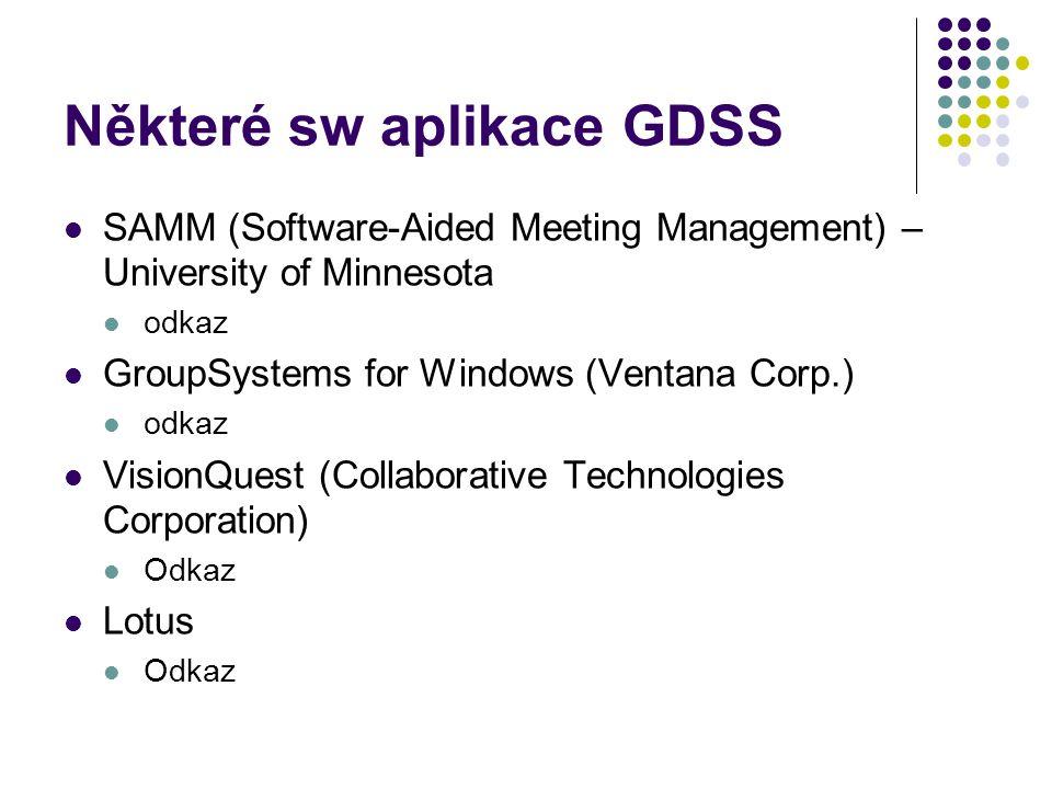 Některé sw aplikace GDSS
