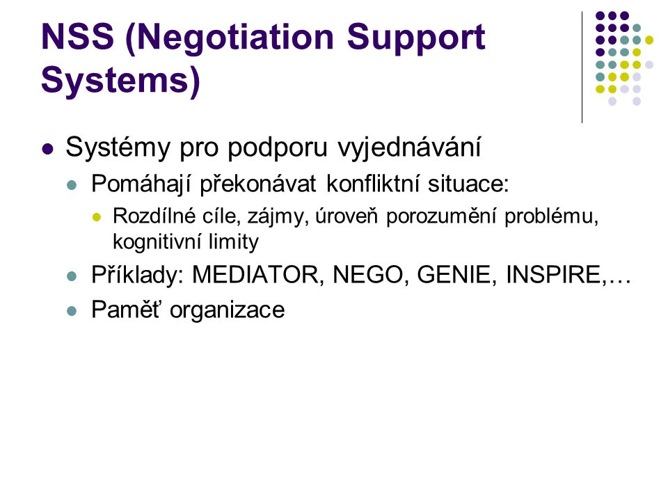 NSS (Negotiation Support Systems)