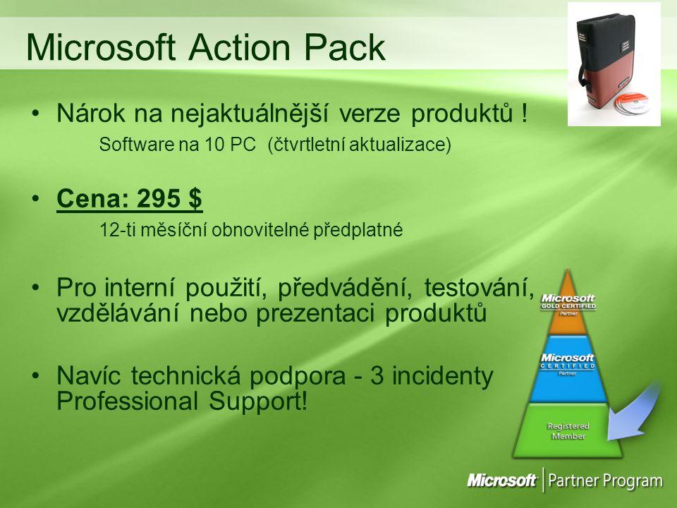 Microsoft Action Pack Nárok na nejaktuálnější verze produktů !