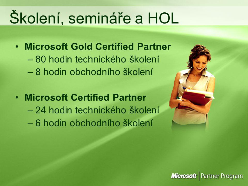Školení, semináře a HOL Microsoft Gold Certified Partner