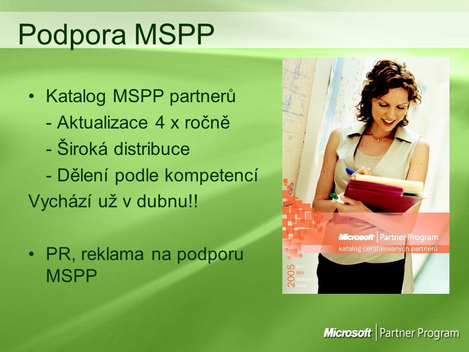 Podpora MSPP Katalog MSPP partnerů - Aktualizace 4 x ročně