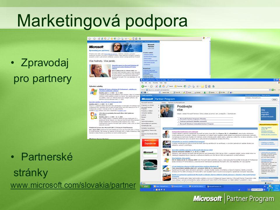 Marketingová podpora Zpravodaj pro partnery Partnerské stránky
