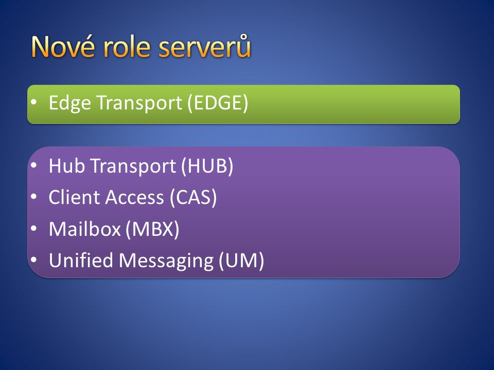 Nové role serverů Edge Transport (EDGE) Hub Transport (HUB)